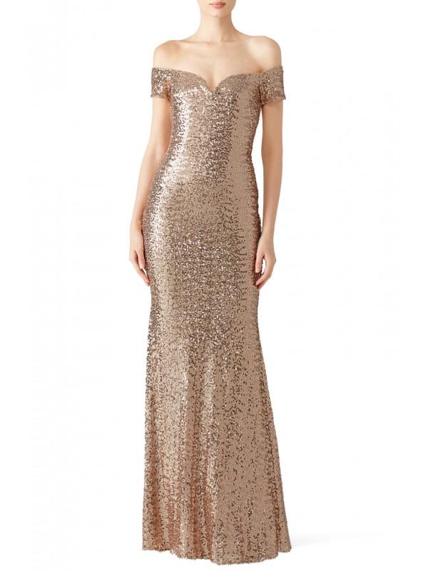 Blush Sequin Off Shoulder Gown