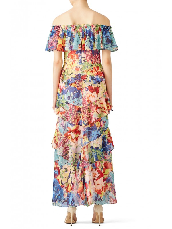 Multi Floral High Low Maxi