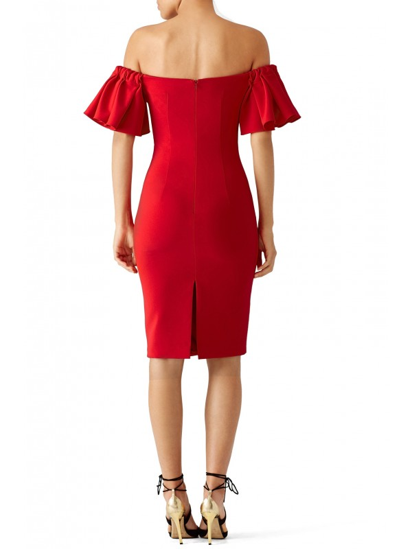 Red Off Shoulder Ruffle Dress