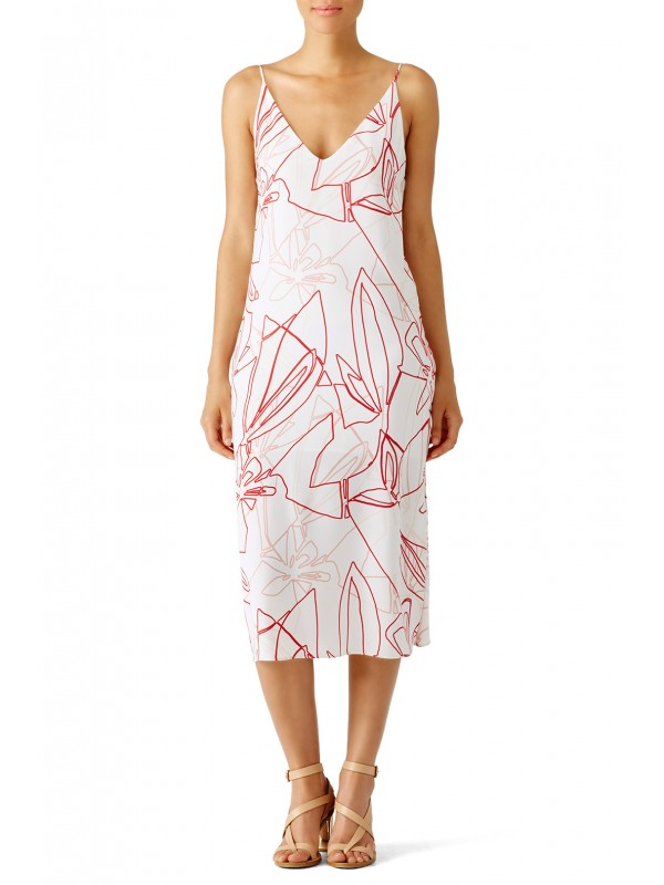 Red Abstract Leaf Print Dress