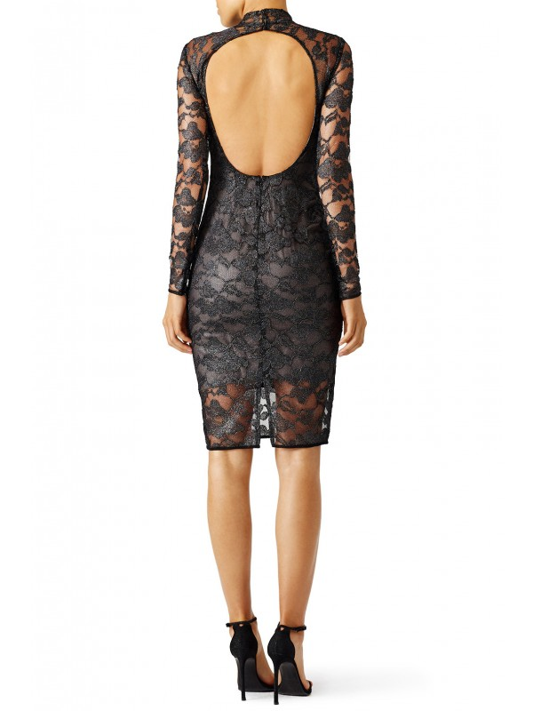 Metallic Floral Lace Sheath