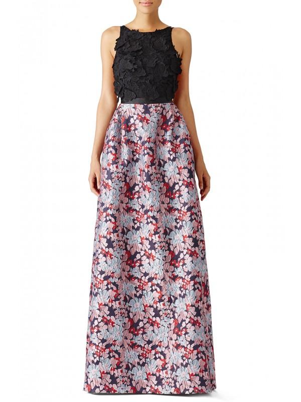 Multi Floral Jacquard Gown