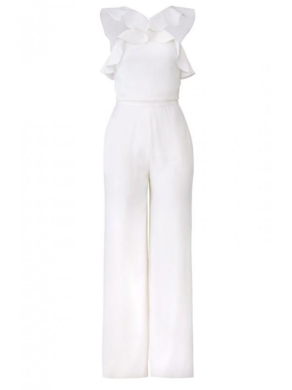 White Ruffle Jumpsuit