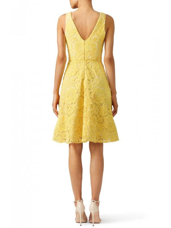 Yellow Lace Sleeveless Dress