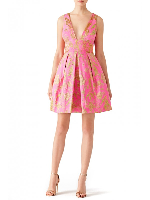 Pink Metallic Floral Dress