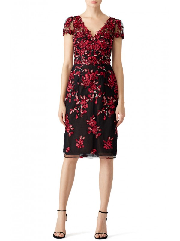 Red Floral Embroidered Sheath