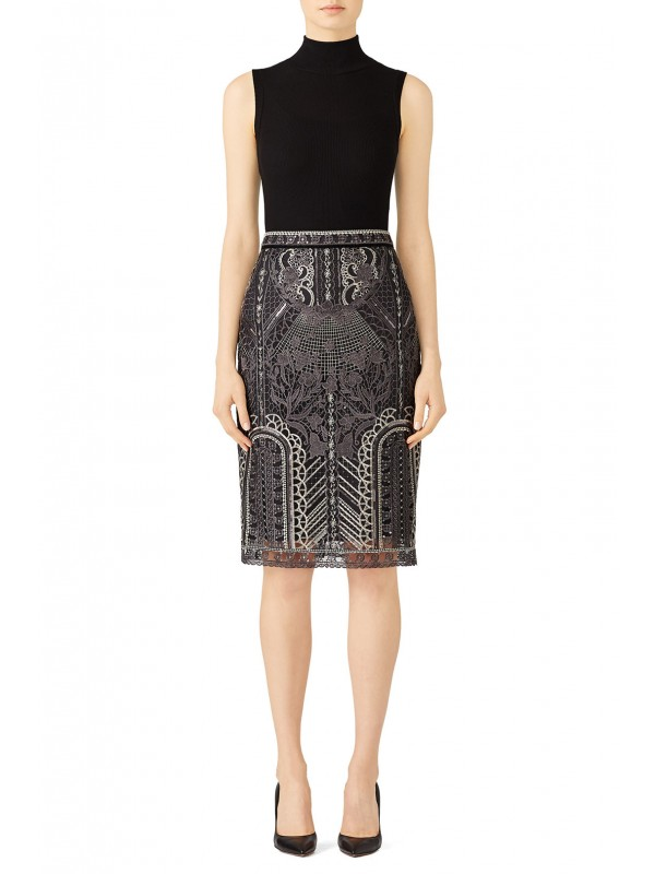 Silver Embroidered Skirt