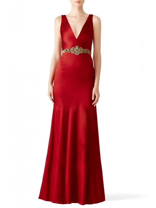 Wine Stretch Satin Gown