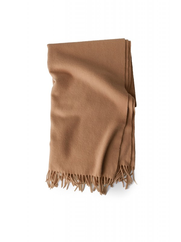 Fringed scarf caramel brown