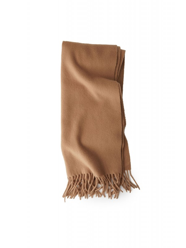 Narrow fringed scarf caramel brown