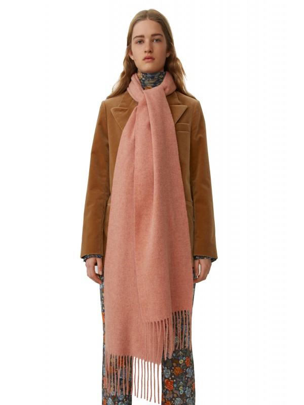 Skinny fringed scarf rose melange