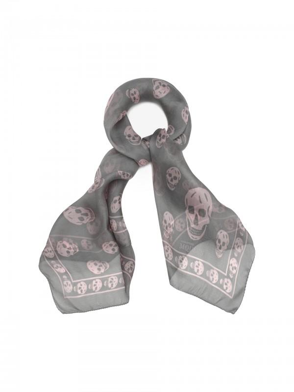 Classic silk chiffon skull pattern scarf pink