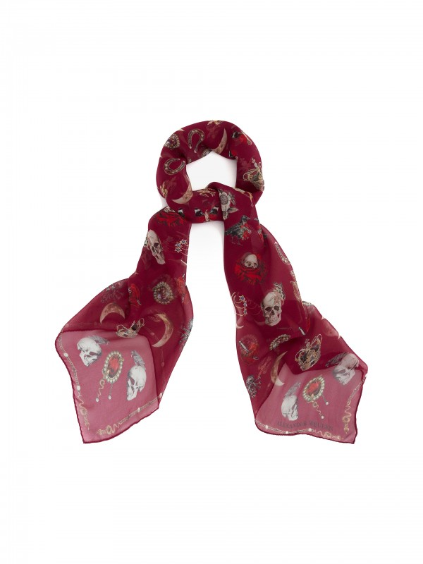 Jewelry decorated chiffon scarf red