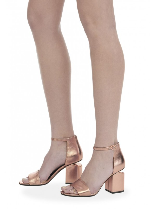 ABBY METALLIC SANDAL WITH ROSE GOLD