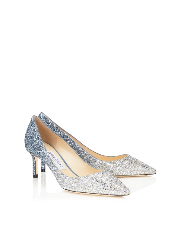 JIMMY ROMY  60 Silver and Dusk Blue Fireball Glitter Degrade Fabric Pointy Toe Pumps