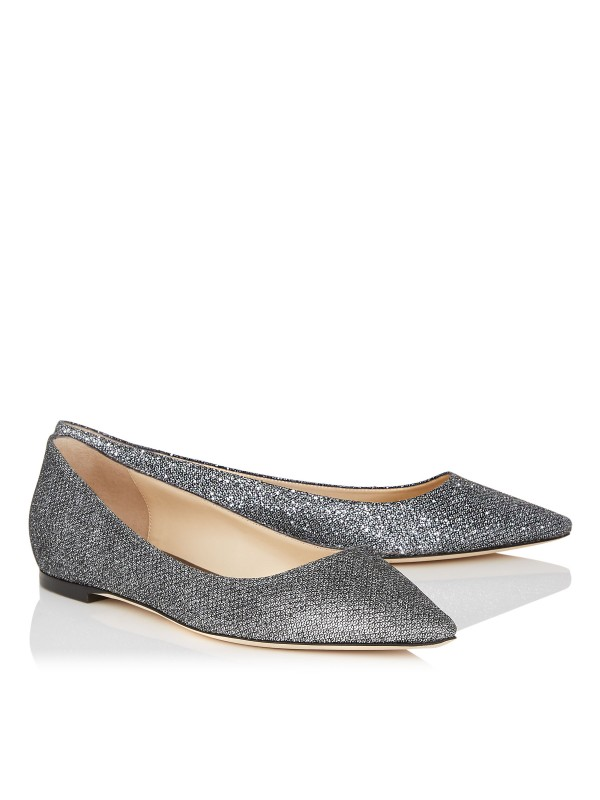 JIMMY ROMY FLAT Anthracite Lame Glitter Fabric Poi...