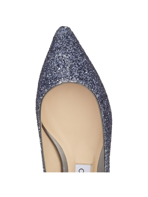 JIMMY ROMY FLAT Navy and Silver Coarse Glitter Degrade Pointy Toe Flats