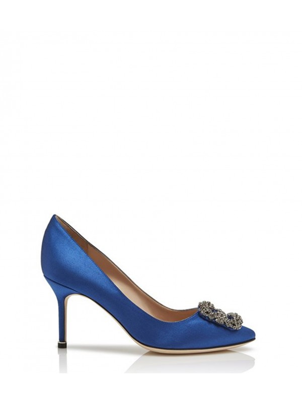 MANOLO HANGISI 70 Blue Satin Jewel Buckled Pumps