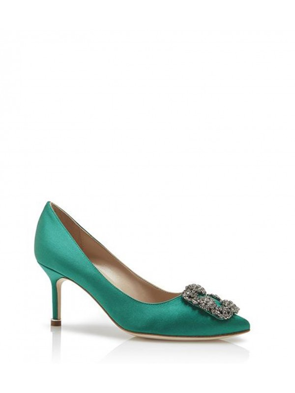 MANOLO HANGISI 70 Green Satin Jewel Buckled Pumps