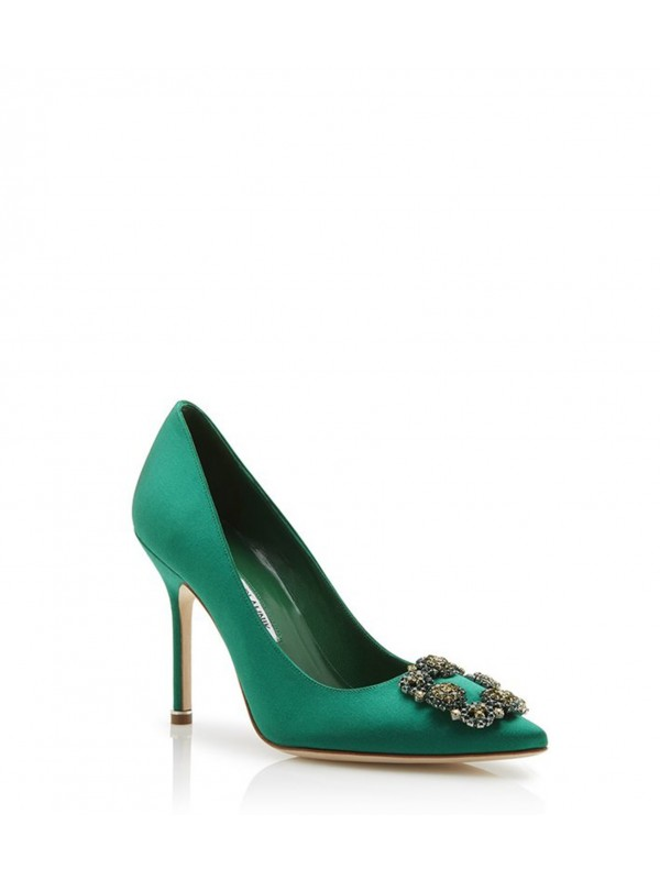 MANOLO HANGISI BIS Green Satin Jewel Buckled Pumps