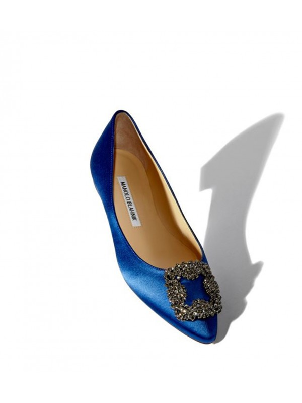 MANOLO HANGISI FLAT Blue Satin Jewel Buckled Flats
