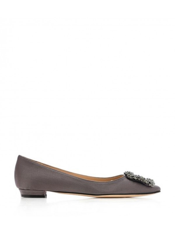 MANOLO HANGISI FLAT Grey Satin Jewel Buckled Flats