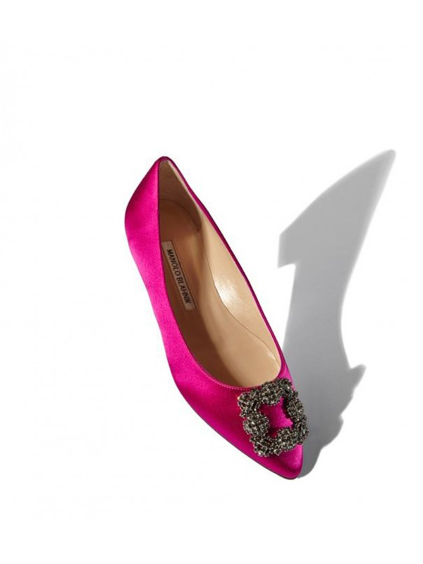 MANOLO HANGISI FLAT Pink Satin Jewel Buckled Flats