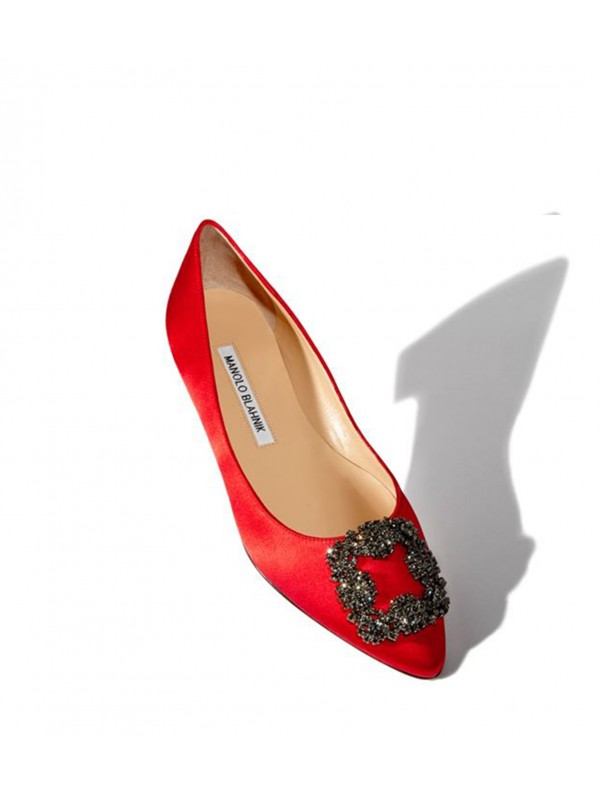 MANOLO HANGISI FLAT Red Satin Jewel Buckled Flats