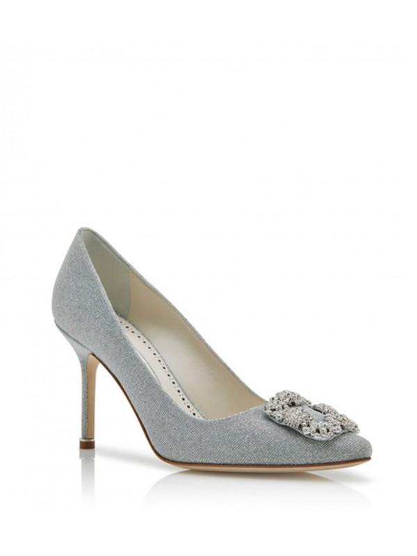 MANOLO HANGISI NOTTURNO BRIDE Silver Metallic Fabr...
