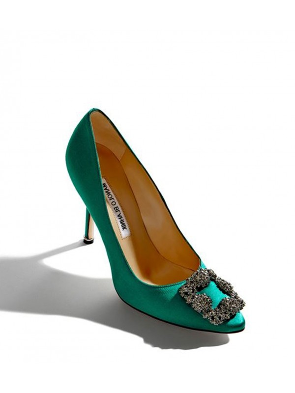 MANOLO HANGISI Green Satin Jewel Buckled Pumps