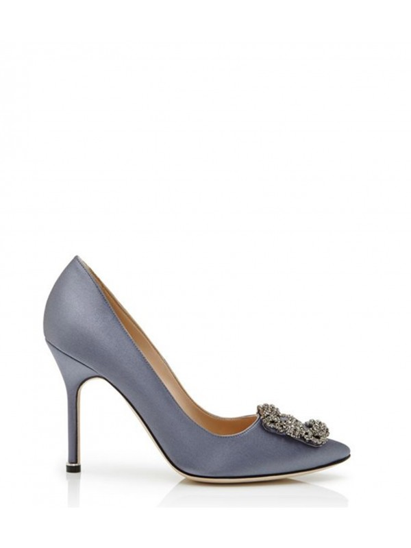 MANOLO HANGISI Grey Satin Jewel Buckled Pump