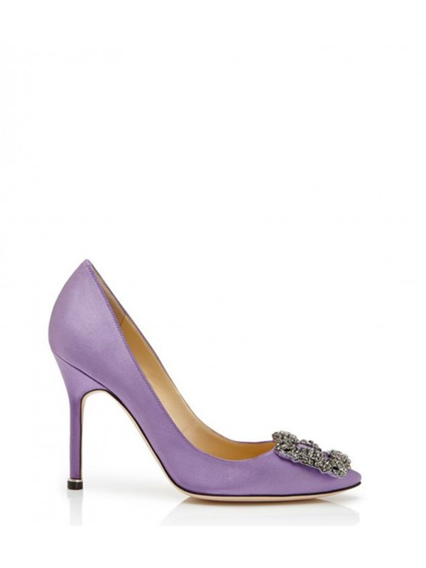 MANOLO HANGISI Lilac Satin Jewel Buckled Pumps