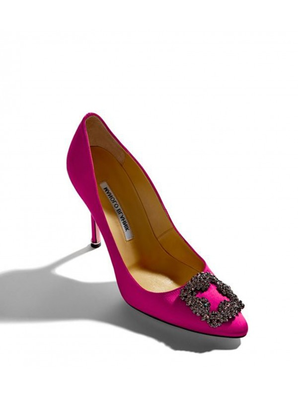 MANOLO HANGISI Pink Satin Jewel Buckled Pumps