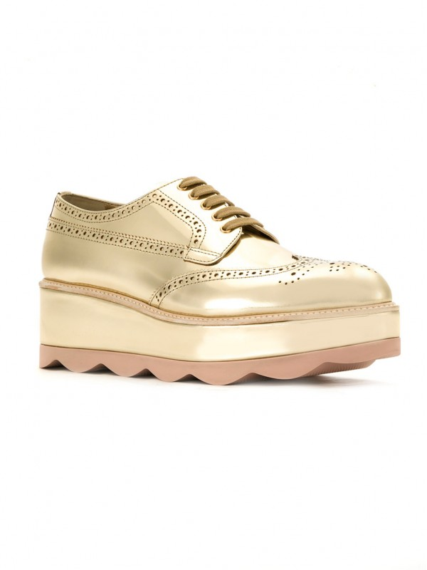 prada Gold Leather waved sole flatform brogues